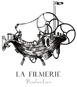 Logo La Filmerie Production Blanc